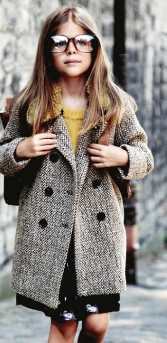 How to wear: black skirt, mustard sweater, grey coat