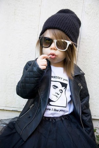 How to Wear a Black Beanie For Girls: Suggest that your child pair a black leather jacket with a black beanie for a laid-back yet fashion-forward outfit.