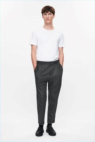 How to wear: black socks, black leather slip-on sneakers, charcoal wool dress pants, white crew-neck t-shirt