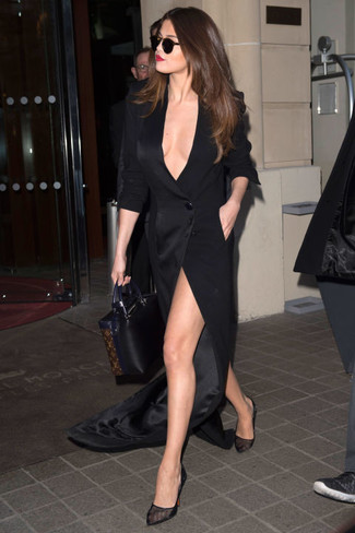 Selena Gomez wearing Black Slit Maxi Dress, Black Mesh Pumps, Black Leather Tote Bag