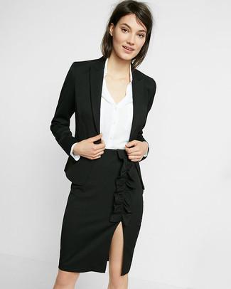 How to wear: black slit pencil skirt, white silk dress shirt, black blazer