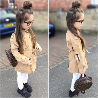 Girls' Looks & Outfits: What To Wear In 2020: Go for a sophisticated look for your daughter with a tan trench coat and white jeans. Black sneakers are a wonderful choice to complete this look.