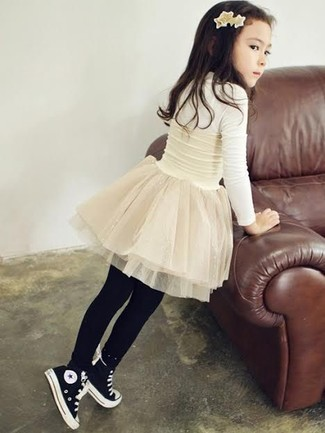How to wear: black tights, black sneakers, white tulle skirt, white long sleeve t-shirt