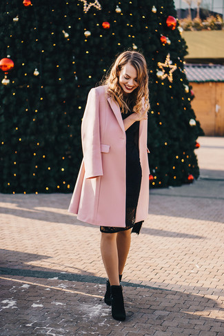How to wear: black suede ankle boots, black lace bodycon dress, pink coat