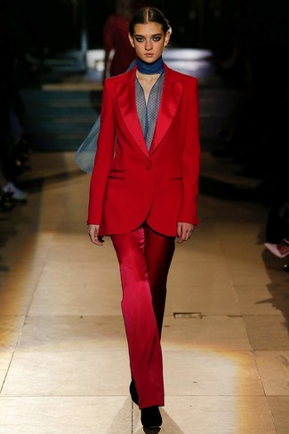 How to wear: black suede ankle boots, navy chiffon long sleeve blouse, red suit