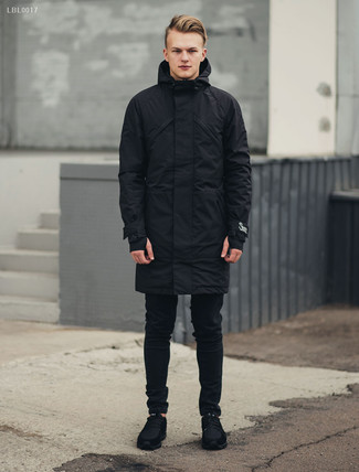 How to wear: black suede athletic shoes, black skinny jeans, black parka