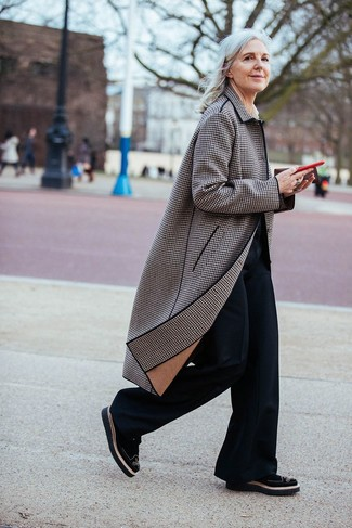 How to wear: black suede brogues, black flare pants, brown plaid coat