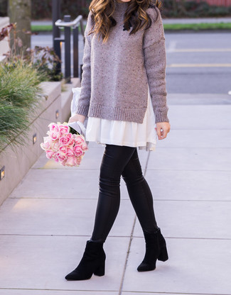 How to wear: black suede chelsea boots, black leather leggings, light violet sweater dress