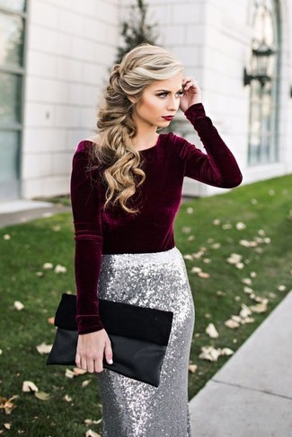 How to wear: black suede clutch, silver sequin pencil skirt, burgundy velvet long sleeve blouse