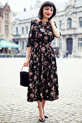 How to wear: black suede handbag, black leather pumps, black floral midi dress