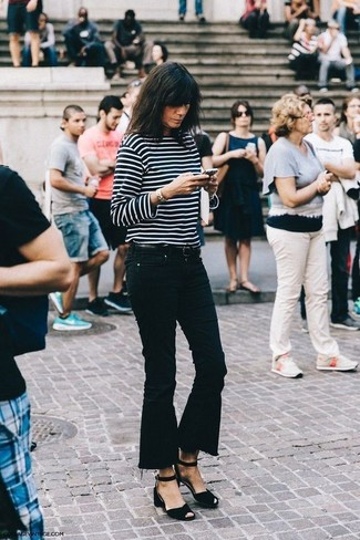 How to wear: black suede heeled sandals, black flare jeans, black and white horizontal striped long sleeve t-shirt