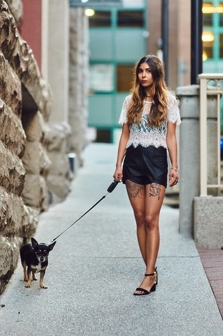 How to wear: black suede heeled sandals, black leather shorts, white lace cropped top