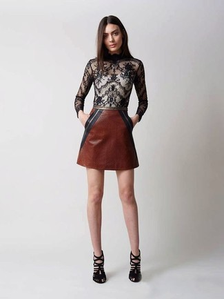 How to wear: black suede heeled sandals, brown leather mini skirt, black lace long sleeve blouse