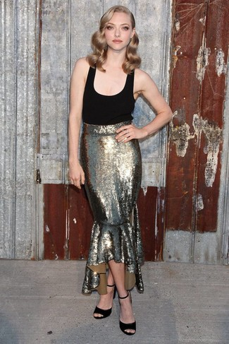 How to wear: black suede heeled sandals, gold sequin maxi skirt, black tank