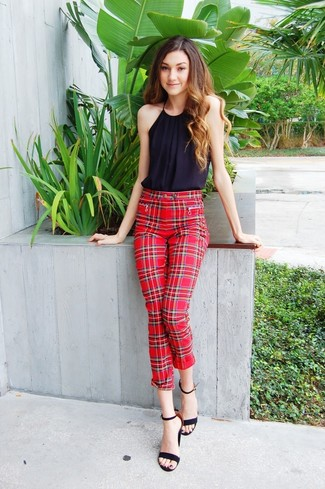 How to wear: black suede heeled sandals, red plaid skinny pants, black sleeveless top