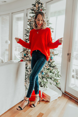 How to wear: black suede heeled sandals, teal skinny jeans, red knit oversized sweater