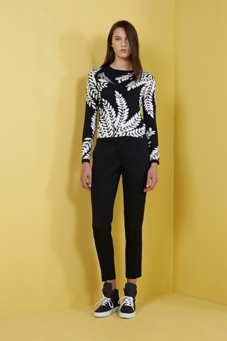 How to wear: black suede high top sneakers, black tapered pants, black and white print crew-neck sweater