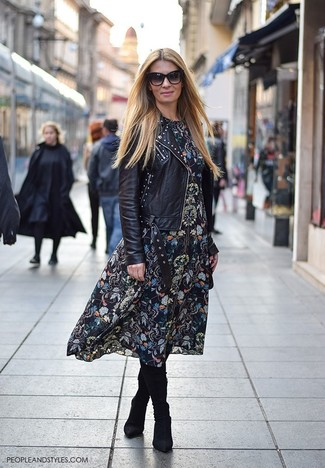 How to wear: black suede knee high boots, black floral midi dress, black studded leather biker jacket