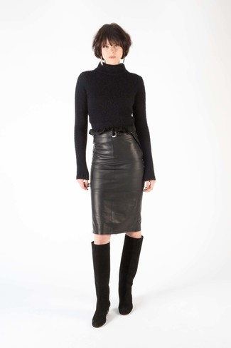 How to wear: black suede knee high boots, black leather pencil skirt, black wool turtleneck
