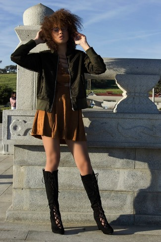 How to wear: black suede knee high boots, brown cutout sheath dress, olive bomber jacket