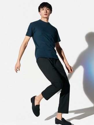 How to wear: black suede loafers, black dress pants, navy crew-neck t-shirt