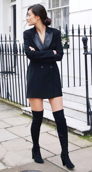 How to wear: black suede over the knee boots, black tuxedo dress