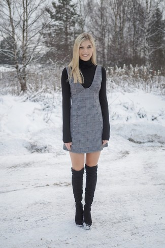How to wear: black suede over the knee boots, grey plaid overall dress, black turtleneck