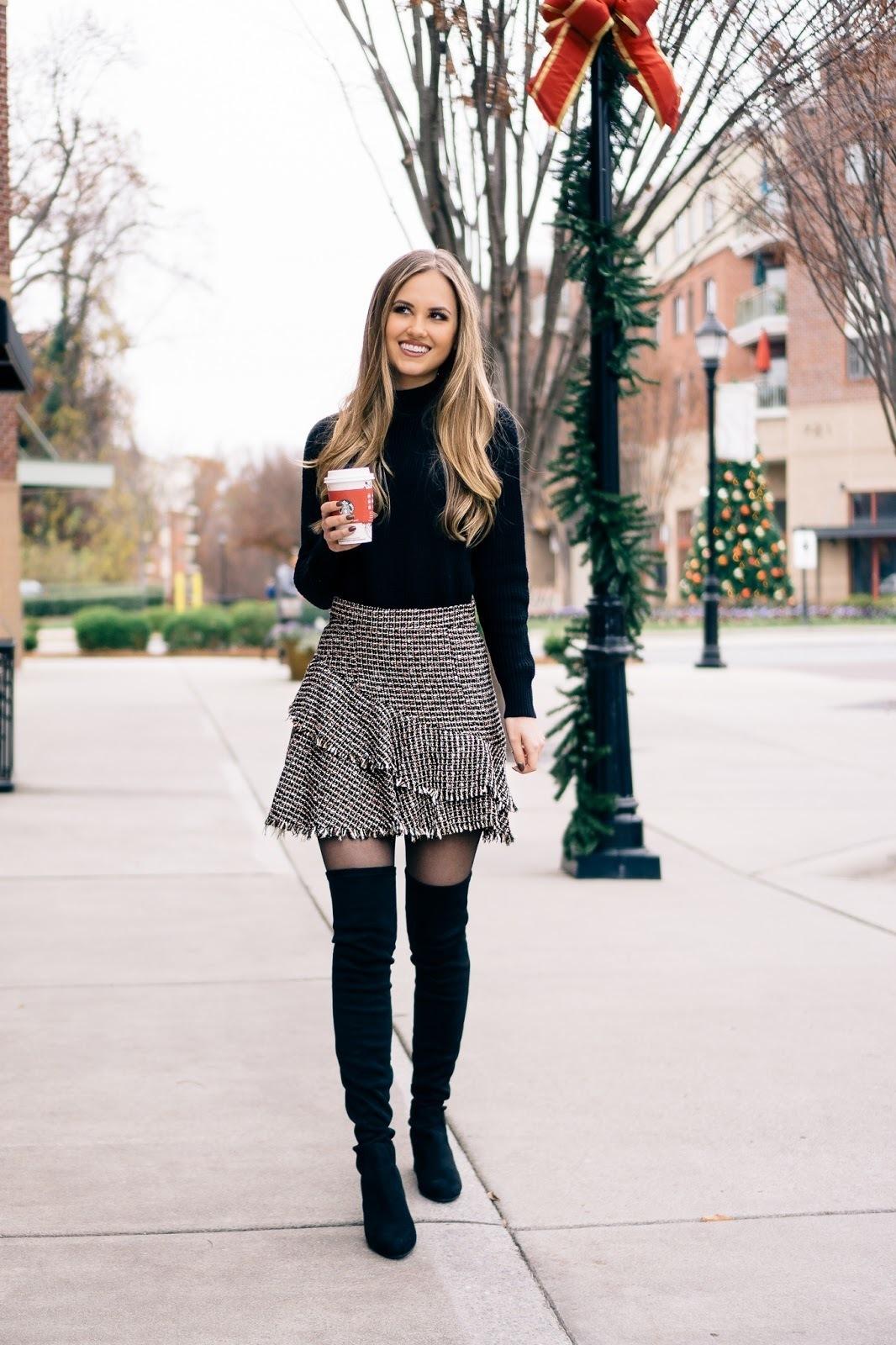 cdb1f2b1c Women's Black Suede Over The Knee Boots, Grey Tweed Mini Skirt, Black  Turtleneck   Women's Fashion   Lookastic UK