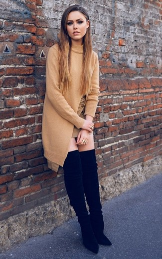How to wear: black suede over the knee boots, tan mini skirt, tan knit tunic