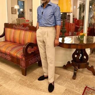 How to wear: black suede tassel loafers, beige dress pants, blue long sleeve shirt