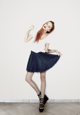 How to wear: black suede wedge sandals, navy skater skirt, white crew-neck t-shirt