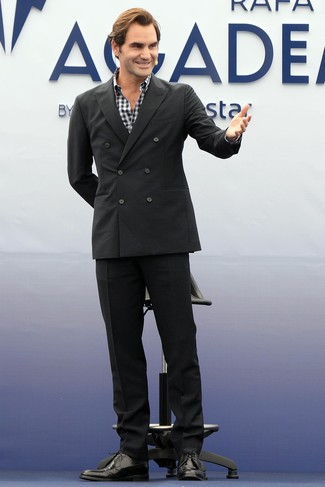 How to wear: black suit, white and black gingham long sleeve shirt, black leather derby shoes