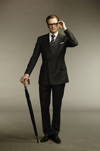 Colin Firth wearing Black Vertical Striped Suit, White Dress Shirt, Black Leather Oxford Shoes, Navy and White Vertical Striped Tie