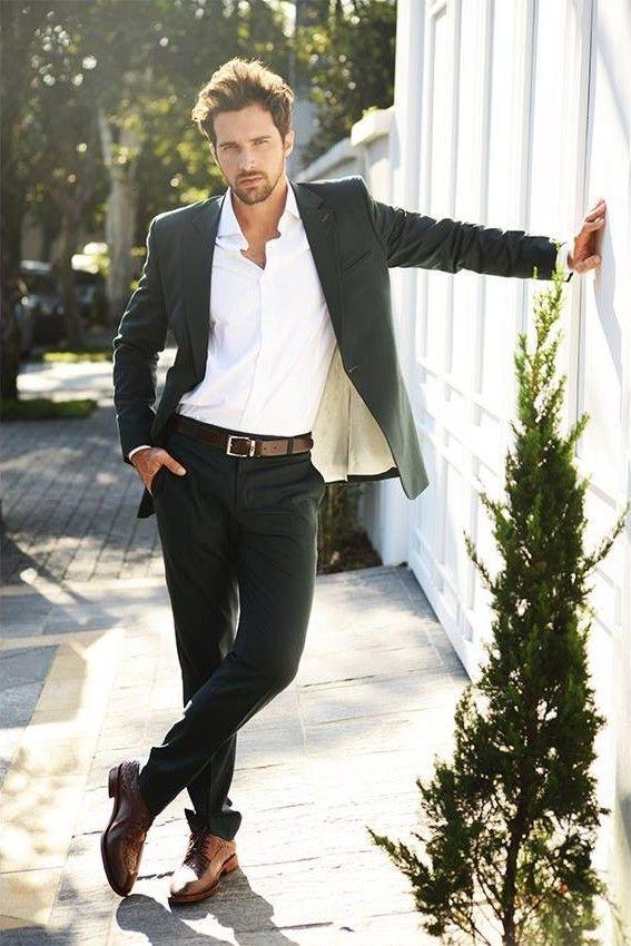 Men S Black Suit White Dress Shirt Brown Leather Derby Shoes Dark