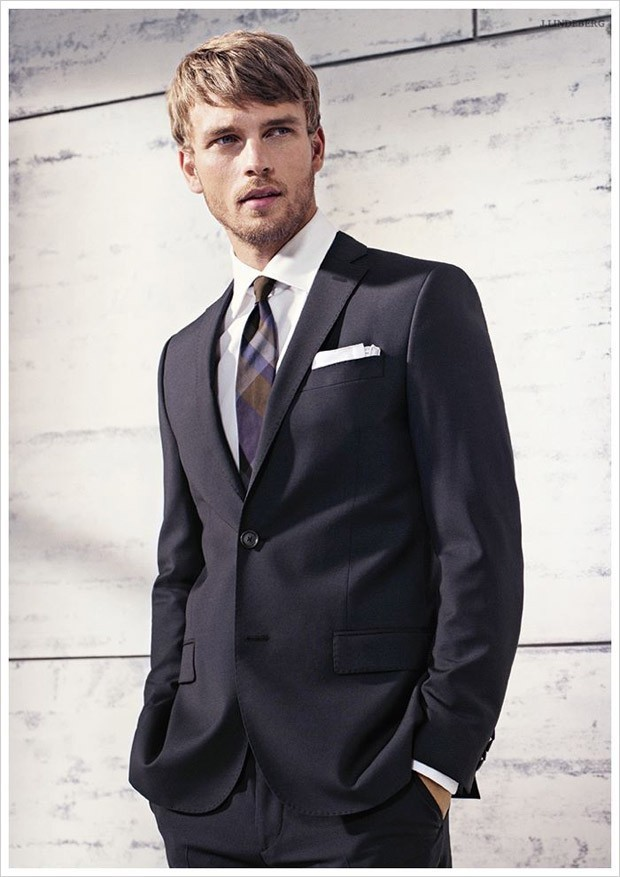 Men's Black Suit, White Dress Shirt, Violet Plaid Tie, White ...