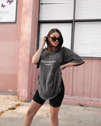 How to wear: black sunglasses, black bike shorts, charcoal print crew-neck t-shirt