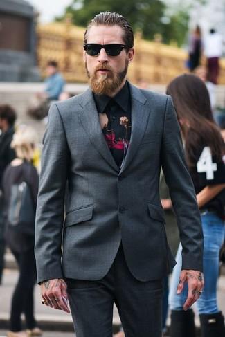 How to wear: black sunglasses, black floral dress shirt, charcoal suit