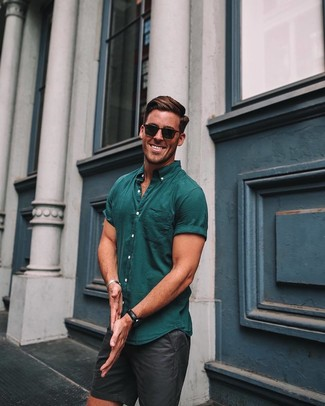 How to wear: black leather watch, black sunglasses, black shorts, teal short sleeve shirt
