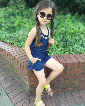 How to wear: black sunglasses, green-yellow sandals, navy romper