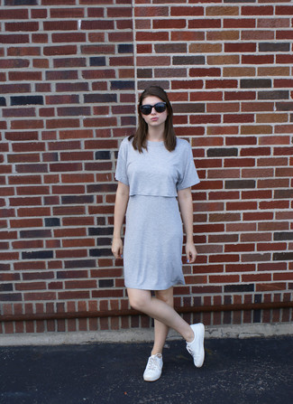 How to wear: black sunglasses, white low top sneakers, grey shift dress