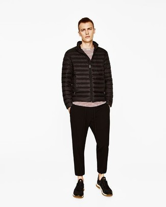 How to wear: black suede low top sneakers, black sweatpants, white and red horizontal striped long sleeve t-shirt, black puffer jacket