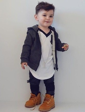 Boys' Looks & Outfits: What To Wear In 2020: Choose a charcoal hoodie and black sweatpants for your son for a comfy outfit. Tan boots are a great choice to round off this getup.