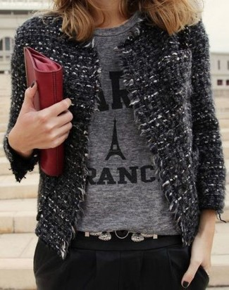 How to wear: red leather clutch, black tapered pants, grey print crew-neck t-shirt, charcoal tweed jacket