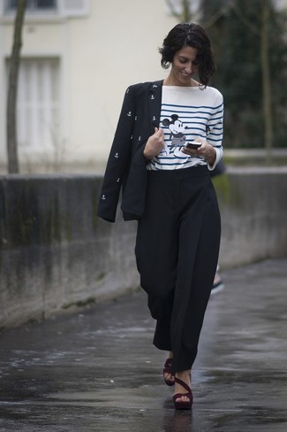 How to wear: burgundy suede heeled sandals, black tapered pants, white and blue horizontal striped long sleeve t-shirt, black and white print blazer