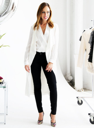 How to wear: black embroidered suede pumps, black tapered pants, white sleeveless top, white duster coat