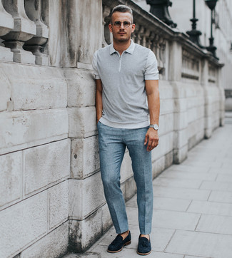 How to wear: silver watch, black suede tassel loafers, light blue dress pants, grey polo