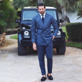 How to wear: navy tie, black suede tassel loafers, white dress shirt, navy vertical striped suit