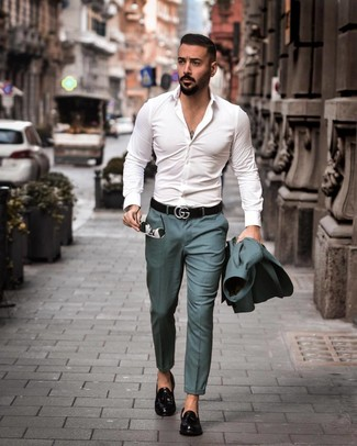 How to wear: black leather belt, black leather tassel loafers, white long sleeve shirt, teal suit