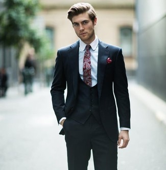 How to wear: black three piece suit, light blue dress shirt, burgundy paisley tie, burgundy polka dot pocket square