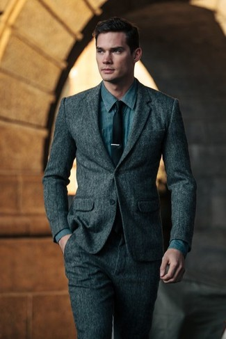 How to wear: black tie, blue denim shirt, charcoal wool suit